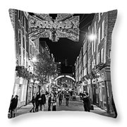 London Nightlife Carnaby Street London Uk United Kingdom Black And White Throw Pillow
