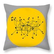 London Yellow Subway Map Throw Pillow