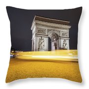 Long Exposure Picture Of Paris Arch De Triomphe At Night   Throw Pillow
