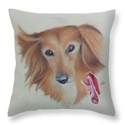 Long Haired, Miniature Dachshund Throw Pillow