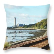 Longgannet Power Station And Railway Throw Pillow
