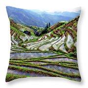 Lonji Rice Terraces Throw Pillow