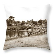 Looking Over Lovers Point Beach Up Forest Avenue Circa 1900 Throw Pillow by California Views Archives Mr Pat Hathaway Archives