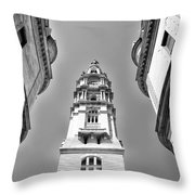 Looking Up - City Hall Court Yard In Black And White Throw Pillow