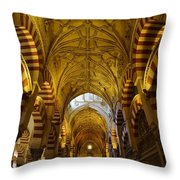 Looking Up Within The Cordoba Mezquita Throw Pillow