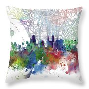 Los Angeles Skyline Map Watercolor 3 Throw Pillow