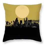 Los Angeles Skyline Minimalism Yellow Throw Pillow