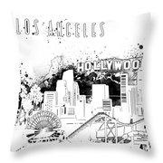 Los Angeles Skyline Panorama White Throw Pillow