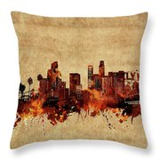 Los Angeles Skyline Vintage Throw Pillow