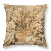Los Apostoles Ante El Sepulcro Vacio De La Virgen  Throw Pillow