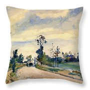 Louveciennes, Road Of Saint-germain - Digital Remastered Edition Throw Pillow