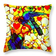 Love Birds In The Love Tree With Hibiscus Throw Pillow