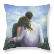 Lovers Looking Forward Brunettes Throw Pillow