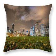 Low Angle Picture Of Downtown Chicago Skyline During Winter Nigh Throw Pillow