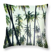 Low Angle View Of Coconut Palm Trees Throw Pillow