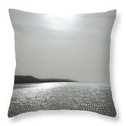 Low Tide Sandy Beach Ripples Silhouetted Against Sun Throw Pillow