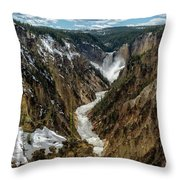 Lower Falls In Yellowstone Throw Pillow
