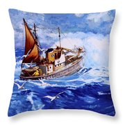 Lowestoft Trawler Throw Pillow