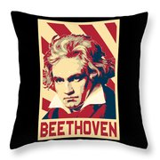 Ludwig Van Beethoven Retro Propaganda Throw Pillow