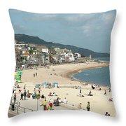 Lyme Regis Beach Throw Pillow