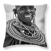 Maasai Woman In Black And White Throw Pillow