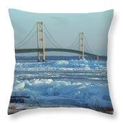 Mackinac Bridge In Ice 2161801 Throw Pillow by Rick Veldman