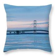 Mackinac Bridge In Ice 2161803 Throw Pillow by Rick Veldman