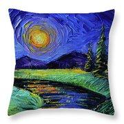 Magic Night - Detail 1 - Fantasy Landscape Throw Pillow