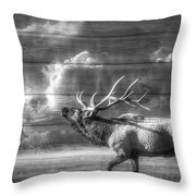 Majestic Elk In Black And White Throw Pillow by Debra and Dave Vanderlaan