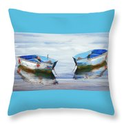 Make It A Double Watercolors Painting With Wood Textures Throw Pillow by Debra and Dave Vanderlaan