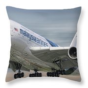 Malaysia Airlines Airbus A380-841 Throw Pillow
