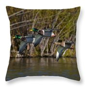 Mallards Flying By Throw Pillow