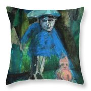 Man In A Park With A Baby Throw Pillow