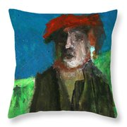Man In A Red Hat Throw Pillow