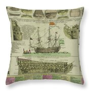 Man Of War Ship Diagram - German - 18th Century Throw Pillow