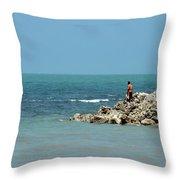 Man On Rocks Looks Out To Ocean From Rocky Beach Jaffna Peninsula Sri Lanka Throw Pillow