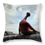 Man On The Wall Throw Pillow