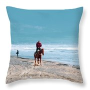 Man Riding On A Brown Galloping Horse On Ayia Erini Beach In Cyp Throw Pillow