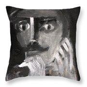 Man With A Handlebar Moustache Throw Pillow