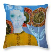 Man With Sunflowers Throw Pillow