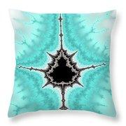 Mandelbrot Fractal Black Aqua White Vertical Throw Pillow