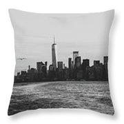 Manhatta, New Jersey And The Statue Of Liberty Throw Pillow