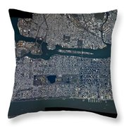 Manhattan - 2012 From Space Throw Pillow by Celestial Images