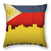 Manilla Philippines City Skyline Flag Throw Pillow