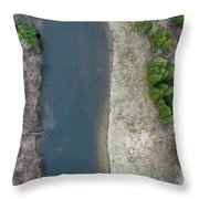 Manistee River Aerial Panorama Throw Pillow