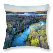Manistee River And Hodenpyle Dam Aerial Throw Pillow