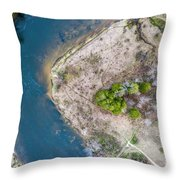 Manistee River Bend Aerial Throw Pillow