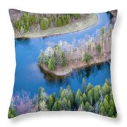 Manistee River Bend From Above Throw Pillow