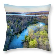 Manistee River Evening Aerial Throw Pillow