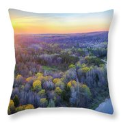Manistee River Sunset Aerial Throw Pillow